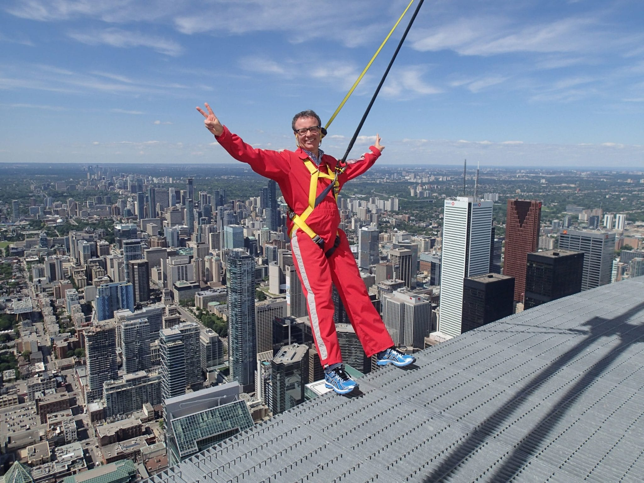 Tim Collins shows no fear at the EdgeWalk